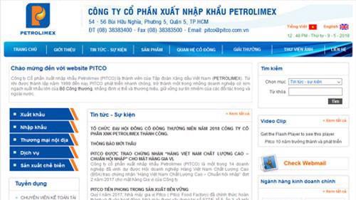 Trang web của Công ty Cổ phần Xuất nhập khẩu Petrolimex – Pitco) (mã PIT-HOSE).