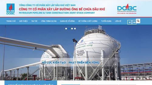 Trang web của Công ty Cổ phần Xây lắp Đường ống Bể chứa Dầu khí (mã chứng khoán PXT).
