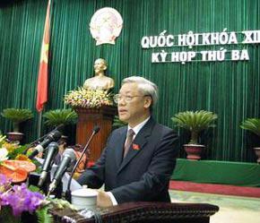 Chủ tịch Quốc hội Nguyễn Phú Trọng đọc diễn văn bế mạc kỳ họp.