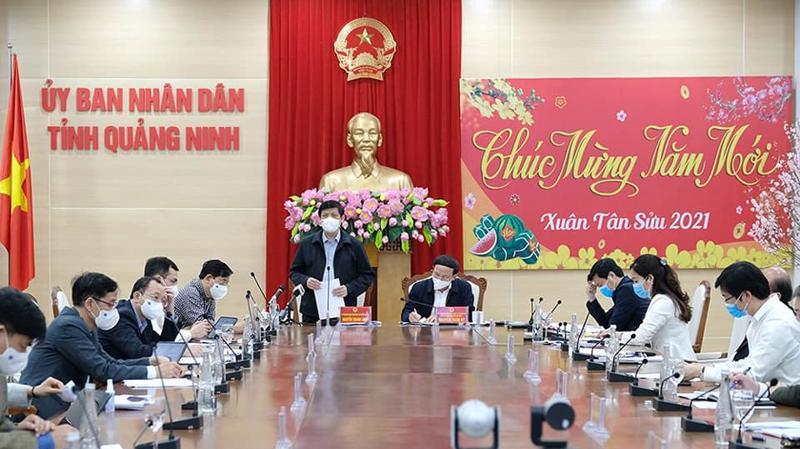 Bộ trưởng Bộ Y tế Nguyễn Thanh Long làm việc với tỉnh Quảng Ninh ngày 7/2. Ảnh - Trần Minh.