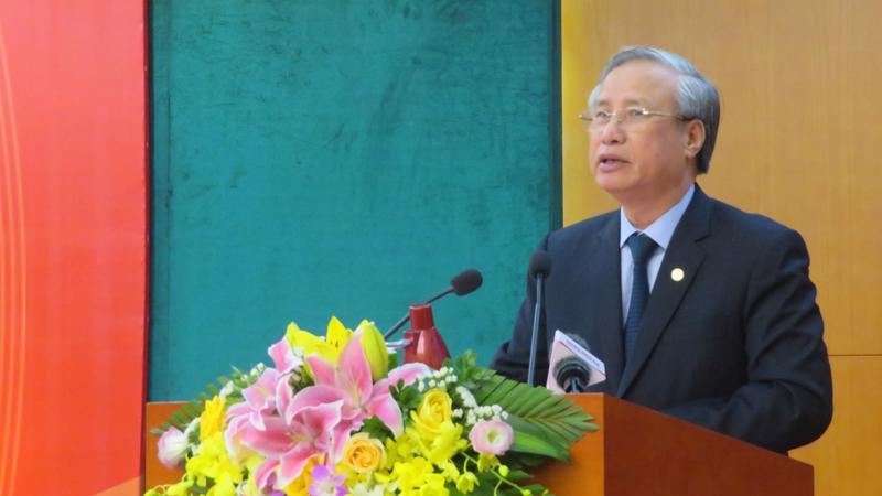 Uỷ viên Bộ Chính trị, Thường trực Ban Bí thư Trần Quốc Vượng phát biểu tại hội nghị - Ảnh: BNC