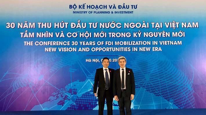 Ông Renato T.Salud - Phó Chủ tịch cấp cao JG Summit Holdings và ông Laurent Levan - Chủ tịch và Tổng giám đốc URC Việt Nam tại hội nghị.