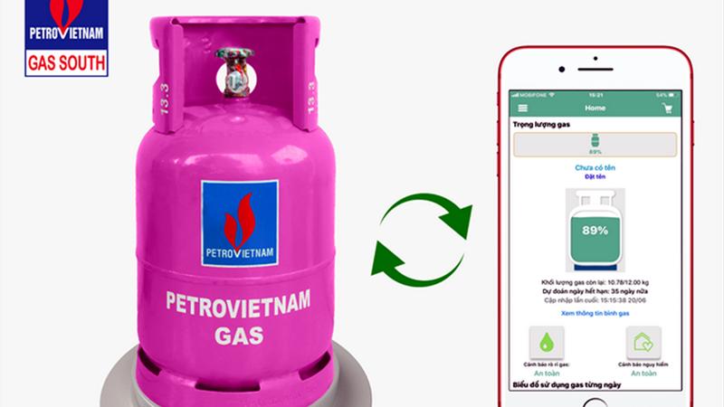 """Chân đế bình gas """"Robot Gas"""", sau khi lắp đặt, sẽ kết nối bình gas đang sử dụng đến điện thoại hoặc thiết bị công nghệ thông minh của khách hàng, thông qua ứng dụng mang tên """"iGas""""."""