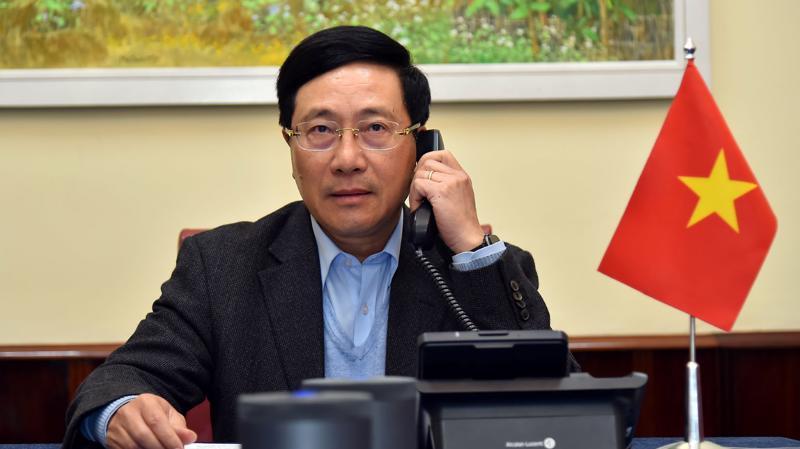 Phó Thủ tướng, Bộ trưởng Ngoại giao Phạm Bình Minh có cuộc điện đàm với Ngoại trưởng Mỹ Mike Pompeo ngày 6/1 - Ảnh: Bộ Ngoại giao