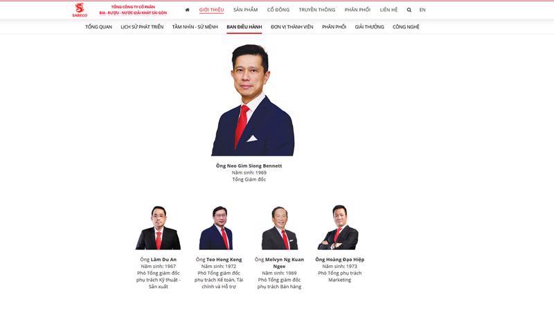 Như vậy, Ban điều hành của SAB chỉ còn có 4 thành viên - trong đó ông Neo Gim Siong Bennett giữ chức vụ Tổng giám đốc.