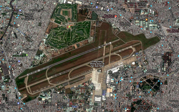 Vị trí sân golf trong sân bay Tân Sơn Nhất trên bản đồ Google Map.