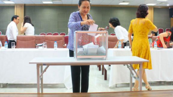 Cổ đông bỏ phiếu biểu quyết các vấn đề xin ý kiến tại đại hội đồng cổ đông EFI.