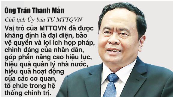 Ông Trần Thanh Mẫn, Bí thư Trung ương Đảng, Chủ tịch Ủy ban Trung ương Mặt trận Tổ quốc Việt Nam