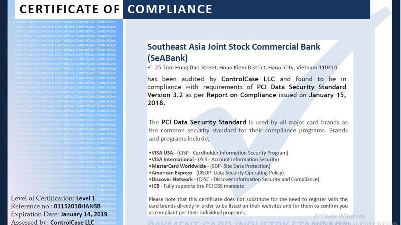 Tiêu chuẩn PCI DSS do Hội đồng Tiêu chuẩn Bảo mật - SSC (Security Standards Council) thiết lập dành cho thẻ thanh toán.