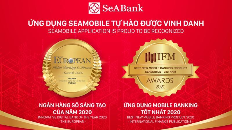 """Ứng dụng ngân hàng số SeAMobile của SeABank, mã chứng khoán: SSB đã được các tổ chức quốc tế uy tín trên thế giới trao tặng giải thưởng """"Ngân hàng số sáng tạo năm 2020"""" (The European) và """"Ứng dụng Mobile Banking tốt nhất Việt Nam 2020"""" (International Finance Publications)."""