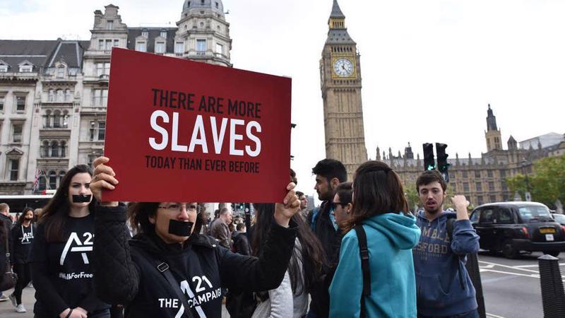 Biểu tình phản đối bốc lột lao động tại Anh - Ảnh: Independent.