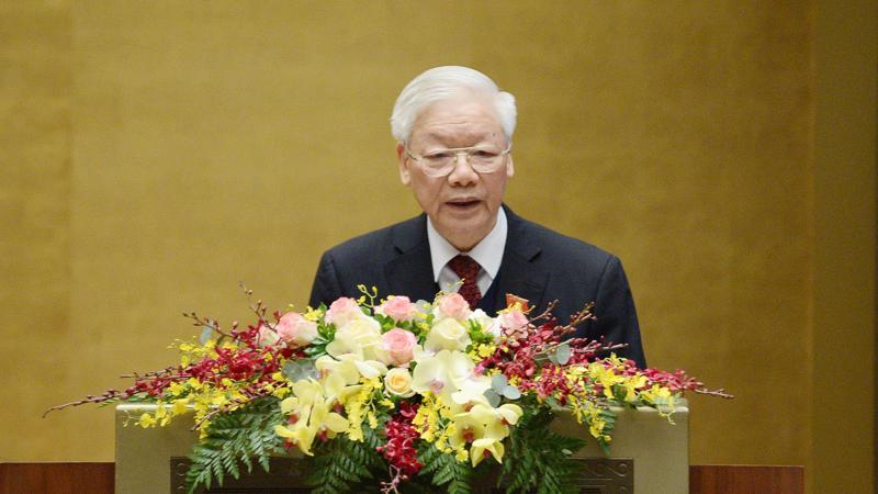Tổng bí thư, Chủ tịch nước Nguyễn Phú Trọng báo cáo trước Quốc hội - Ảnh: Quochoi.vn