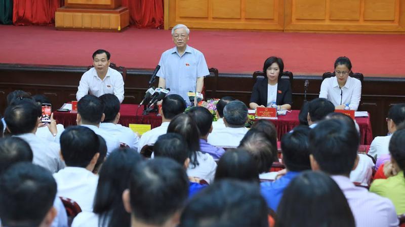 Một buổi tiếp xúc cử tri của Tổng bí thư tại Hà Nội, nơi Tổng bí thư ứng cử đại biểu Quốc hội.