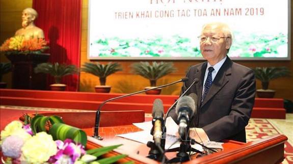 Tổng bí thư, Chủ tịch nước Nguyễn Phú Trọng phát biểu tại hội nghị - Ảnh: TTXVN