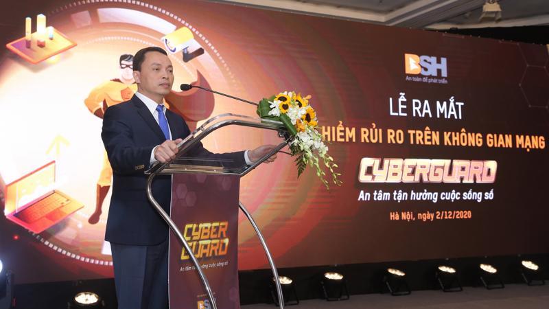 Ông Bùi Trung Kiên - Tổng giám đốc Bảo hiểm BSH phát biểu khai mạc buổi Lễ ra mắt sản phẩm Bảo hiểm CyberGuard.