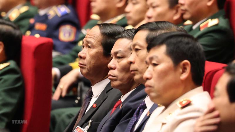 Các đại biểu dự phiên tham luận tại hội trường Trung tâm Hội nghị Quốc gia, sáng 27/1.