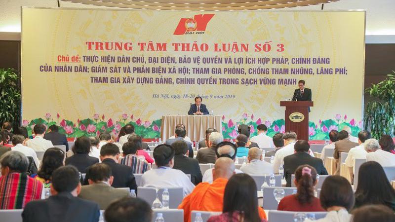 Các đại biểu tham dự phiên thảo luận tại Trung tâm thảo luận số 3, chiều 19/9. Ảnh - Quang Vinh.