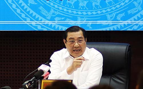 Chủ tịch UBND thành phố Đà Nẵng Huỳnh Đức Thơ trao đổi với báo chí ngày 27/6.<br>