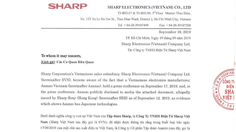 Tập đoàn Sharp và Sharp Việt Nam đang tìm hiểu các pháp lý cần thiết để theo đuổi vụ kiện Asanzo trong vai trò bảo vệ thương hiệu Sharp toàn cầu.