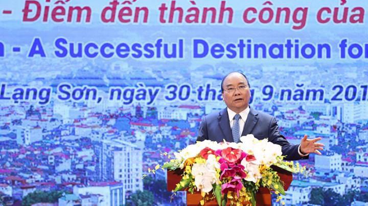 Thủ tướng Nguyễn Xuân Phúc phát biểu tại Hội nghị xúc tiến đầu tư tỉnh Lạng Sơn năm 2019 - Ảnh: Quang Phúc.