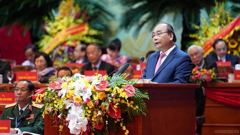 Thủ tướng Nguyễn Xuân Phúc phát biểu tại Đại hội - Ảnh: VGP