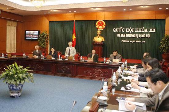 Phiên họp thứ 36 của Ủy ban Thường vụ Quốc hội - Ảnh: TTXVN.