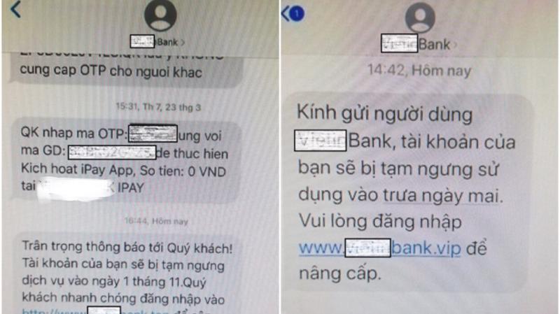 Các tin nhắn mạo danh ngân hàng đi lừa đảo ngày càng nở rộ