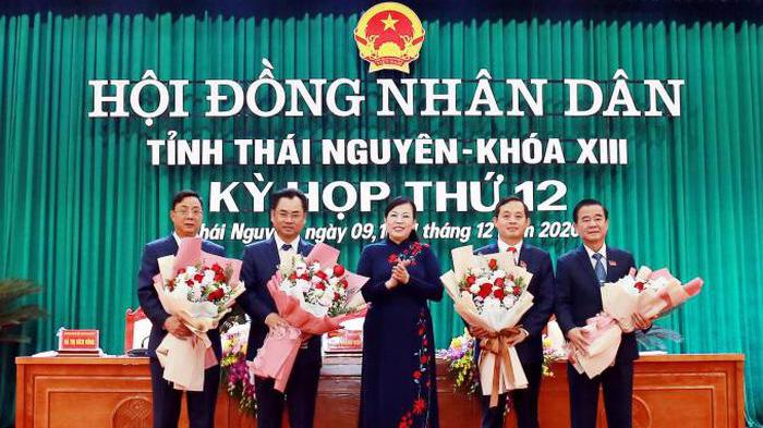Ông Trịnh Việt Hùng (thứ 2 từ trái sang) được bầu làm Chủ tịch UBND tỉnh Thái Nguyên.