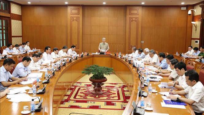 Cuộc họp của Thường trực Ban Chỉ đạo Trung ương về phòng, chống tham nhũng - Ảnh: TTXVN