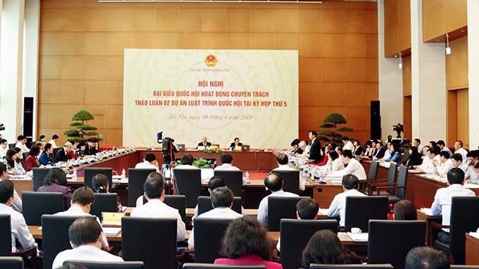 Hội nghị đại biểu Quốc hội chuyên trách thảo luận dự án Luật An ninh mạng.
