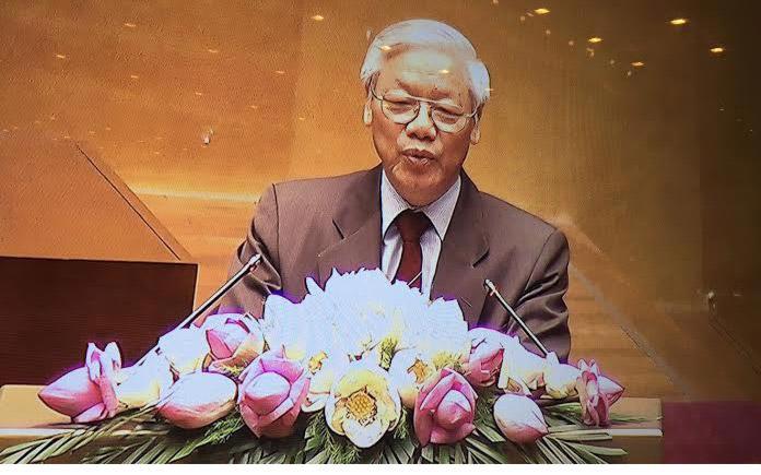 Tổng bí thư Nguyễn Phú Trọng phát biểu tại hội nghị công tác bầu cử, sáng 18/7.
