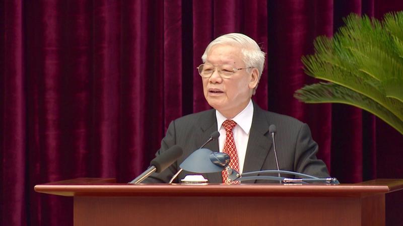 Tổng bí thư, Chủ tịch nước Nguyễn Phú Trọng phát biểu bế mạc Hội nghị Trung ương 11 - Ảnh: TTXVN