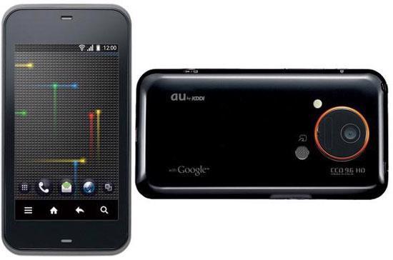 Màn hình IS03 có độ phân giải tương tự iPhone 4 - Ảnh: Engadget.