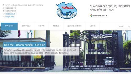 Trang web của Công ty cổ phần Vận tải 1 Traco.