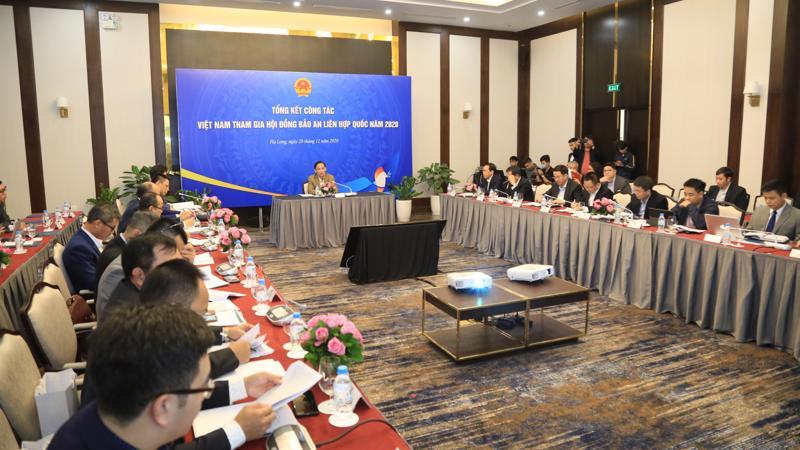 Cuộc họp của Tổ công tác Liên ngành về việc Việt Nam đảm nhận cương vị Ủy viên Không thường trực Hội đồng Bảo an Liên Hợp Quốc ngày 28/12 - Ảnh: Báo TGVN