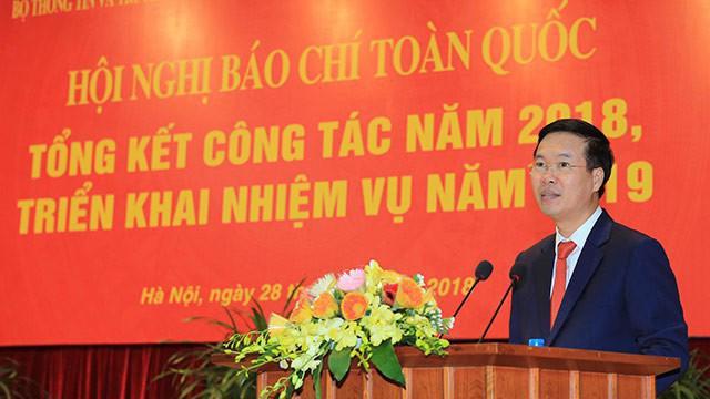 Trưởng ban Tuyên giáo Trung ương Võ Văn Thưởng phát biểu chỉ đạo tại Hội nghị Báo chí toàn quốc hôm 28/12.
