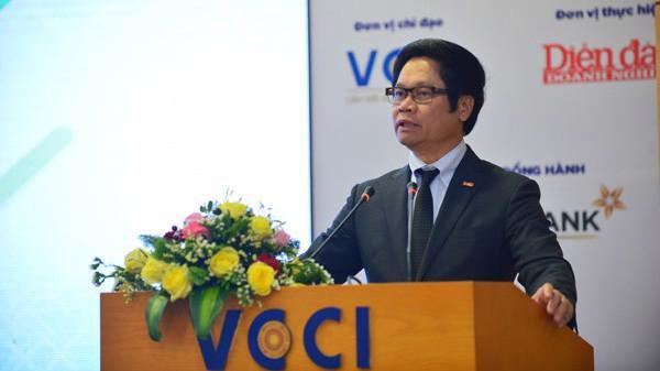 Chủ tịch VCCI Vũ Tiến Lộc phát biểu tại Festival Khởi nghiệp 2019 - Ảnh: DDDN