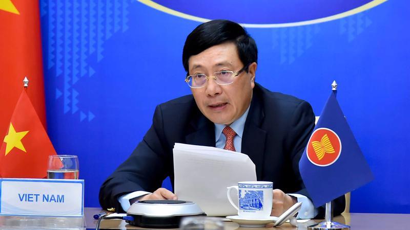 Phó Thủ tướng, Bộ trưởng Ngoại giao Phạm Bình Minh tại hội nghị trực tuyến ngày 2/3 - Ảnh: Bộ Ngoại giao