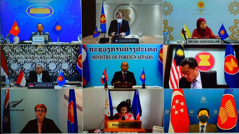 Đối thoại ASEAN - New Zealand lần thứ 28 được tổ chức theo hình thức trực tuyến ngày 23/3 - Ảnh: Bộ Ngoại giao