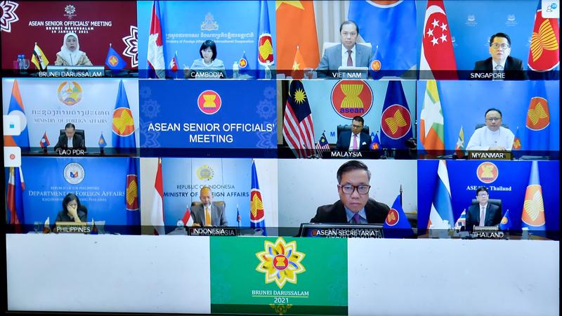 Các Trưởng SOM của các nước ASEAN tham dự hội nghị ngày 19/1 - Ảnh: Bộ Ngoại giao