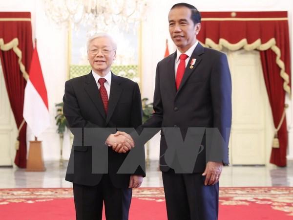 Tổng bí thư Nguyễn Phú Trọng và Tổng thống Indonesia Joko Widodo.<br>
