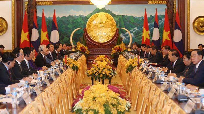 Tổng bí thư, Chủ tịch Lào Bounnhang Vorachith và Tổng bí thư, Chủ tịch nước Nguyễn Phú Trọng hội đàm tại Phủ Chủ tịch - Ảnh: TTXVN.