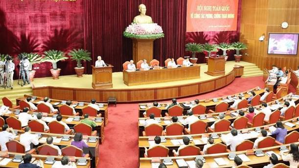Các vị lãnh đạo cao nhất của Đảng và Nhà nước đều có mặt tại hội nghị toàn quốc về phòng chống tham nhũng được tổ chức tại Hà Nội, ngày 25/6 - Ảnh TTXVN