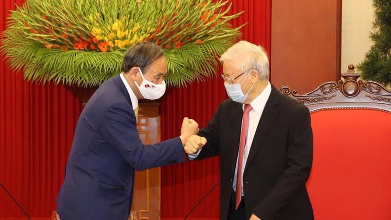Tổng bí thư, Chủ tịch nước Nguyễn Phú Trọng tiếp thủ tướng Nhật Bản - Ảnh: VGP.