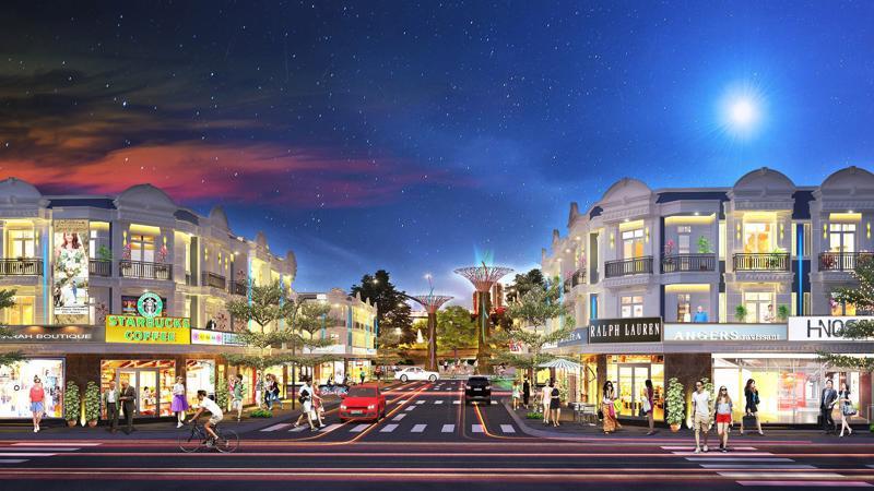 Phối cảnh dự án Uni Mall Center với những dãy shophouse sang trọng, đẳng cấp.