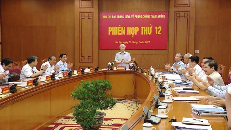 Một phiên họp của Ban Chỉ đạo Trung ương về phòng, chống tham nhũng, do Tổng bí thư Nguyễn Phú Trọng chủ trì.