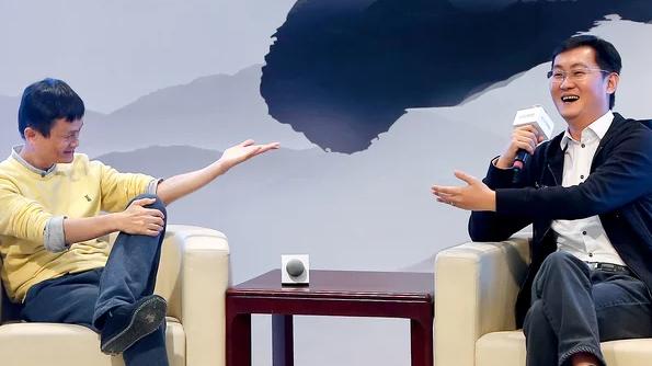 Jack Ma (trái) và Ma Huateng - Ảnh: Fortune.