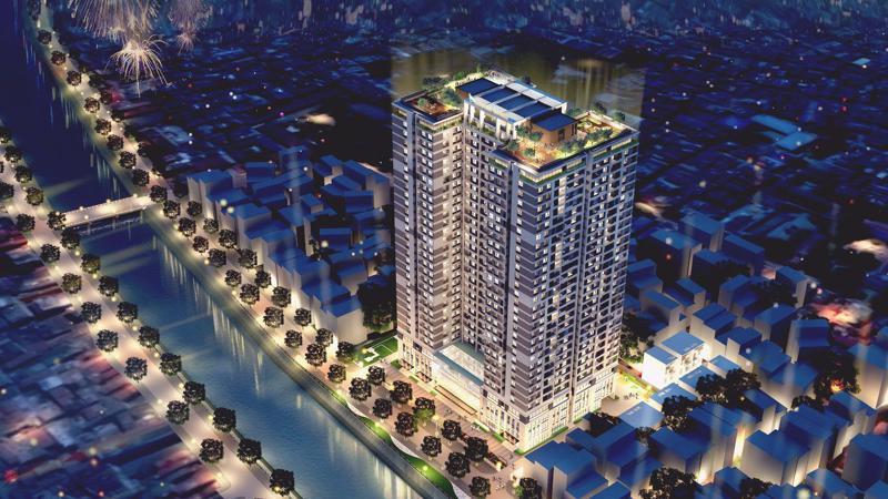 Nằm tại 349 Vũ Tông Phan, dự án Riverside Garden có vị trí đẹp, giao thông thuận tiện.