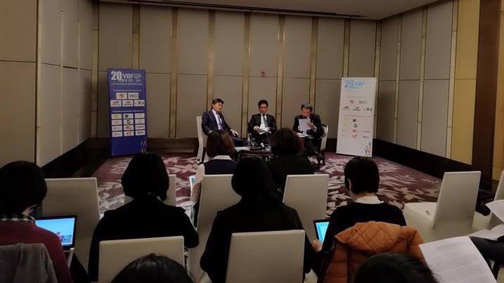 Hai vị đồng Chủ tịch VBF 2017 trao đổi với báo chí trước thềm diễn đàn.