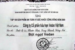 Giấy chứng nhận do ban tổ chức cấp cho sản phẩm của Vedan - Ảnh: TN